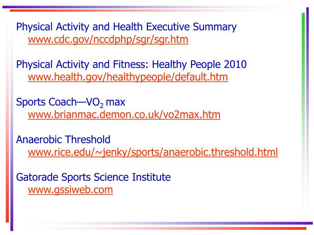 Physical Activity and Health Executive Summary