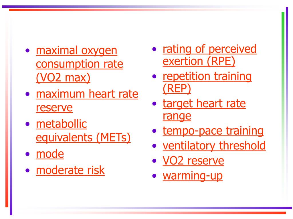 maximal oxygen consumption rate (VO2 max)