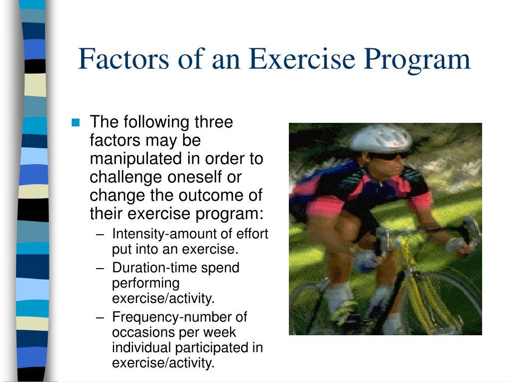 Factors of an Exercise Program