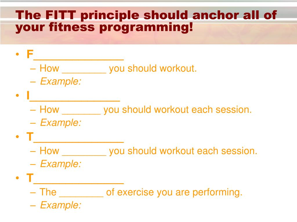 The FITT principle should anchor all of your fitness programming!