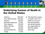 underlying causes of death in the united states