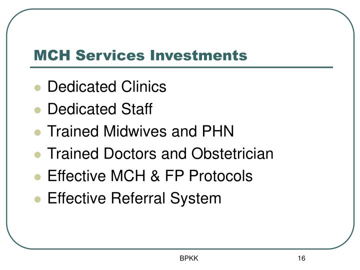 MCH Services Investments