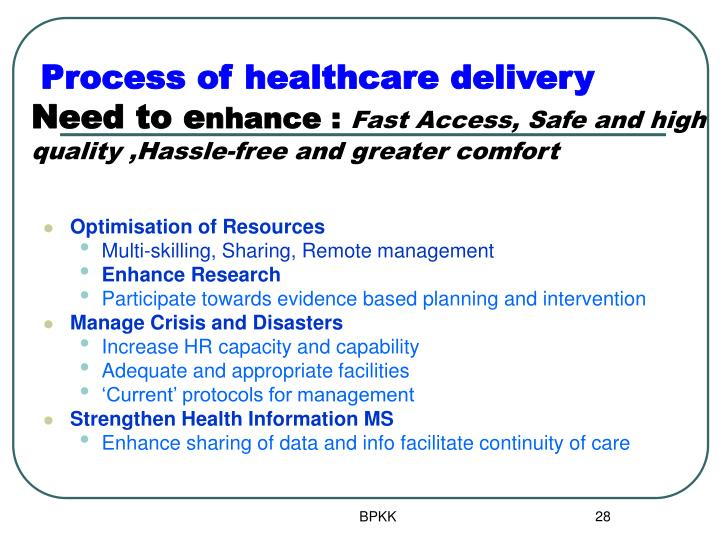 Process of healthcare delivery