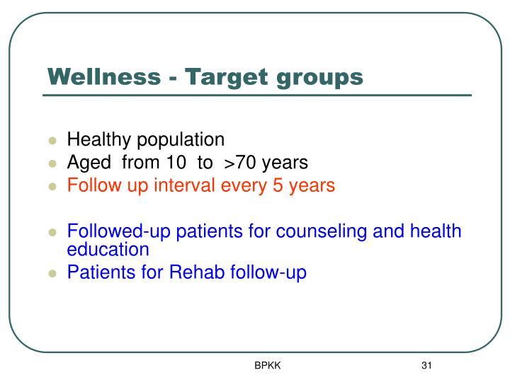 Wellness - Target groups