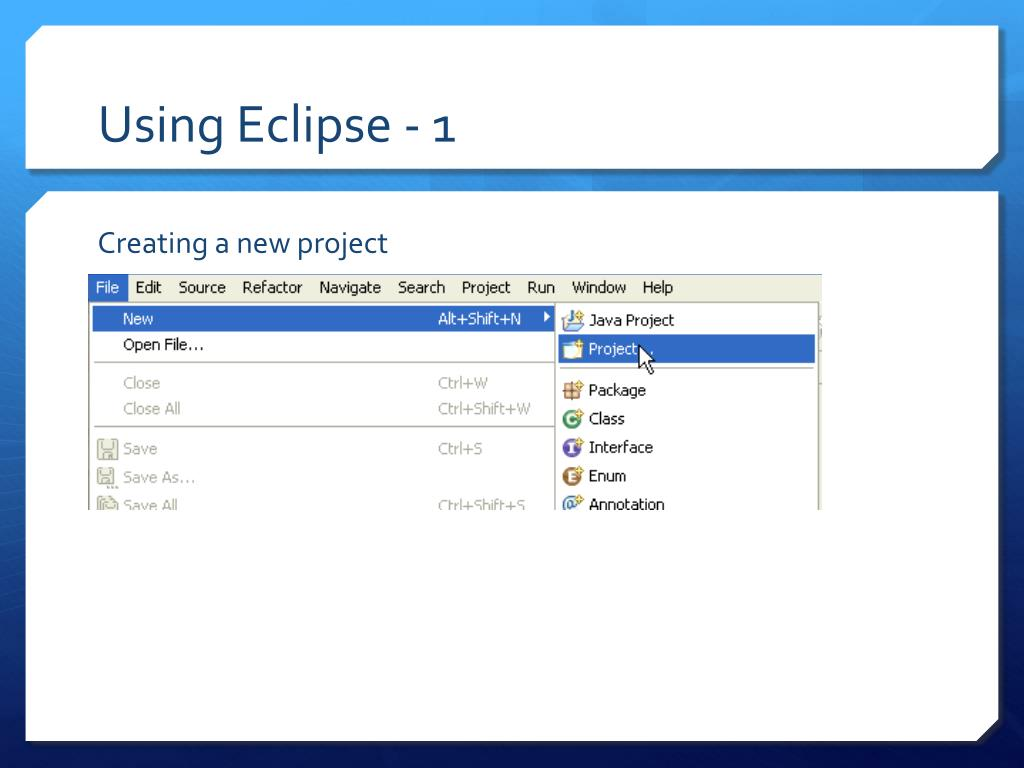 Using Eclipse - 1