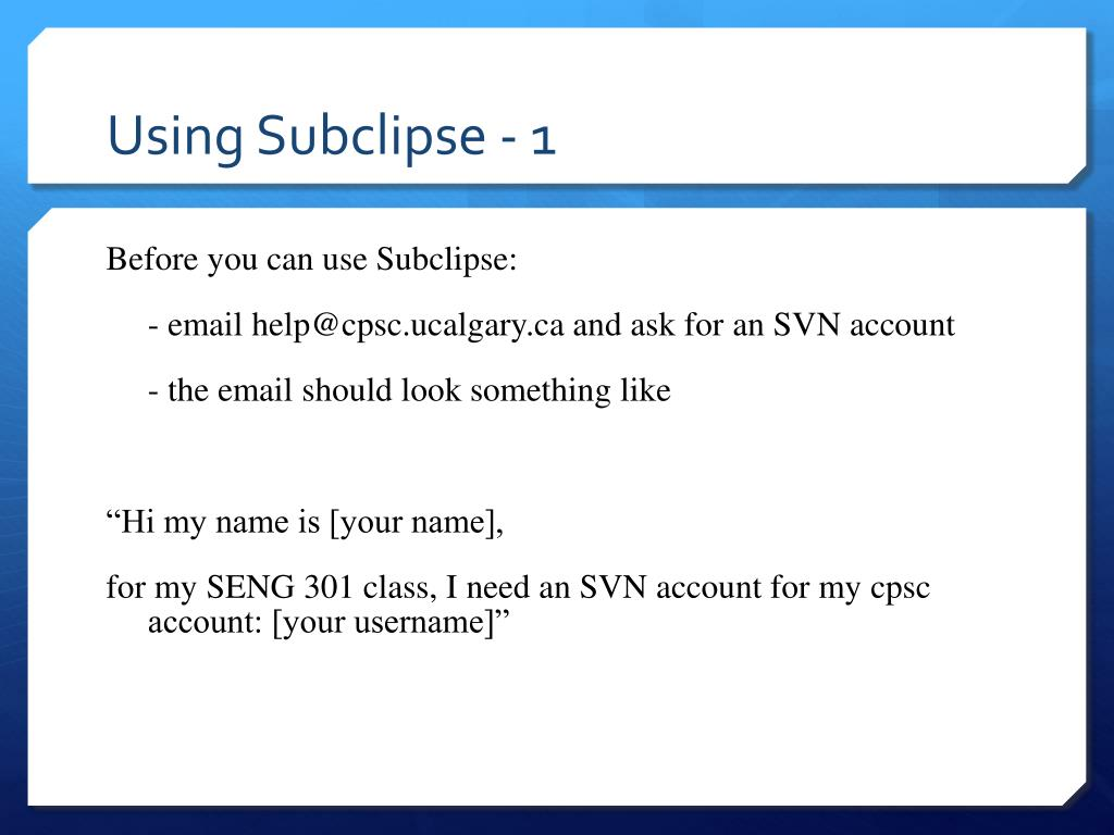 Using Subclipse - 1