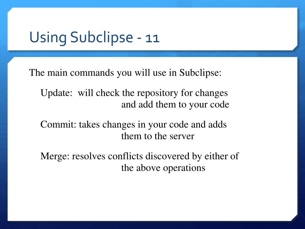 Using Subclipse - 11