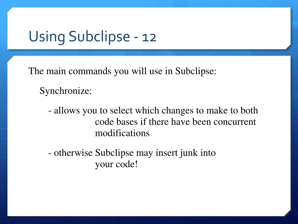 Using Subclipse - 12