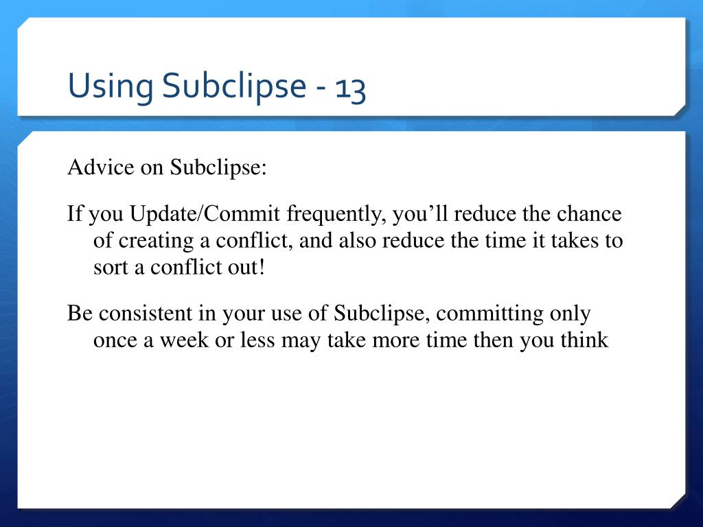 Using Subclipse - 13