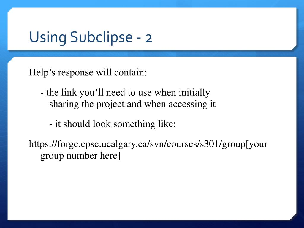 Using Subclipse - 2