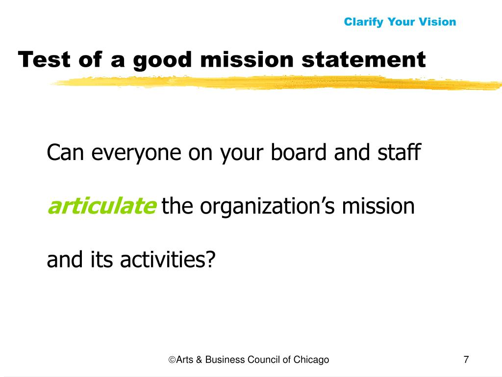 Test of a good mission statement