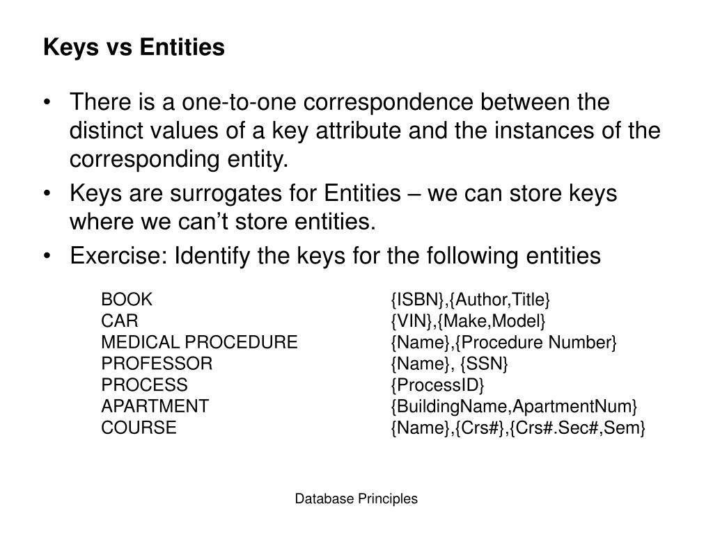 Keys vs Entities
