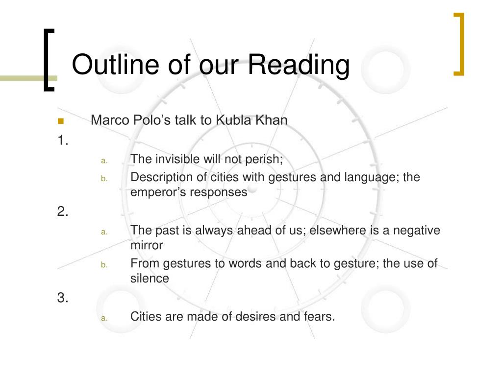 Outline of our Reading