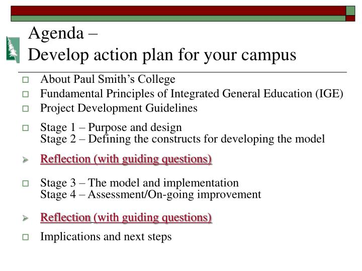 Agenda develop action plan for your campus