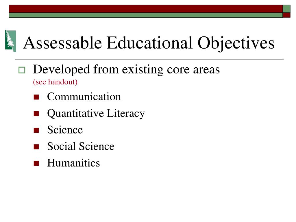 Assessable Educational Objectives