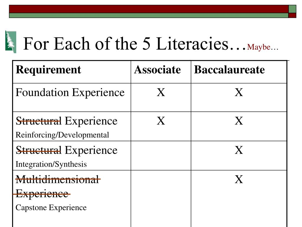 For Each of the 5 Literacies…