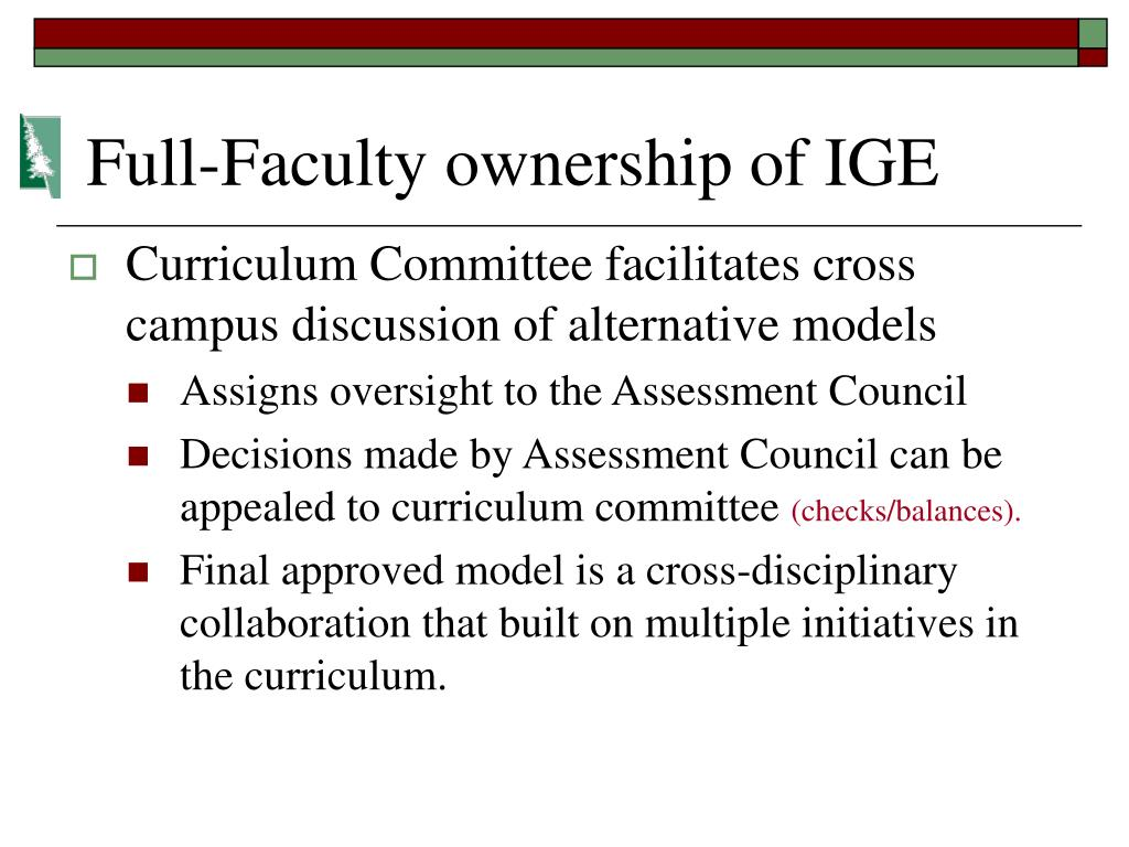 Full-Faculty ownership of IGE