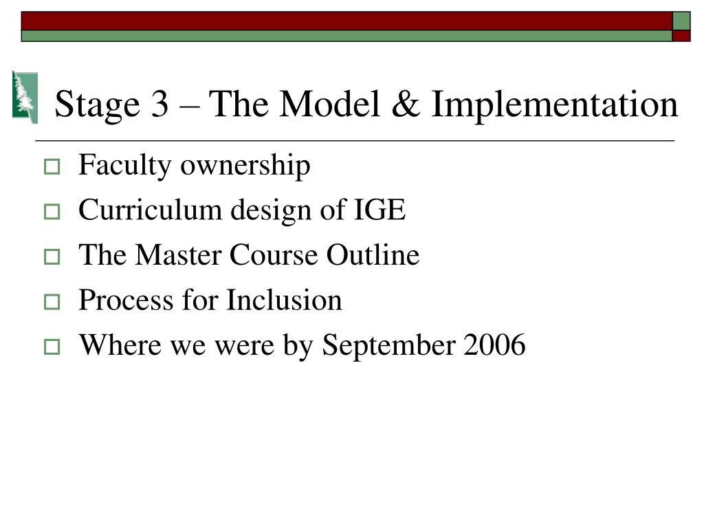 Stage 3 – The Model & Implementation