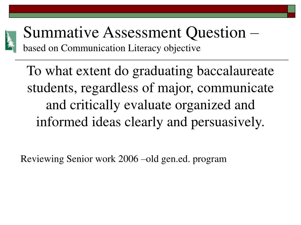 Summative Assessment Question –