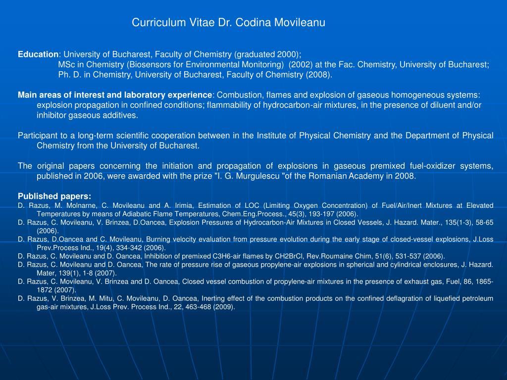 Curriculum Vitae Dr. Codina Movileanu