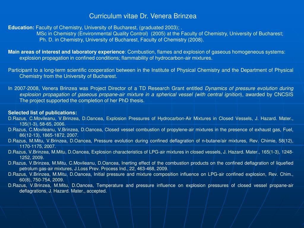 Curriculum vitae Dr. Venera Brinzea