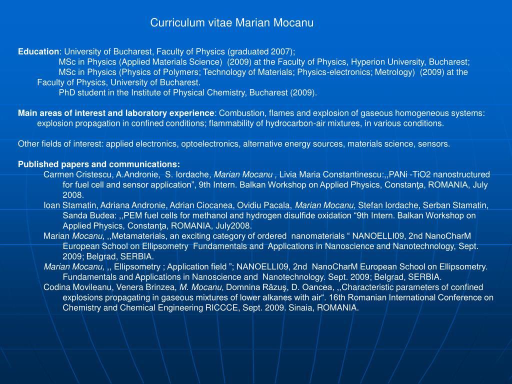 Curriculum vitae Marian Mocanu