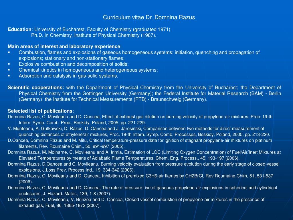 Curriculum vitae Dr. Domnina Razus
