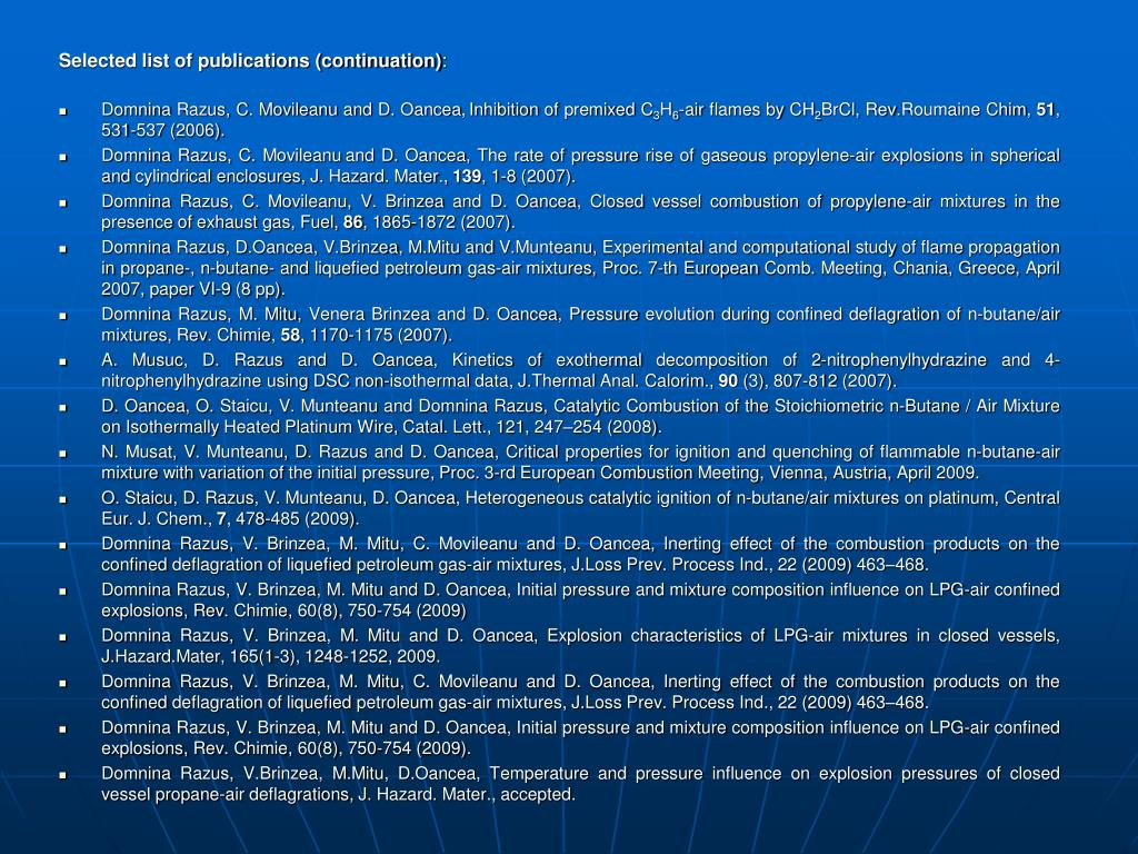 Selected list of publications (continuation)