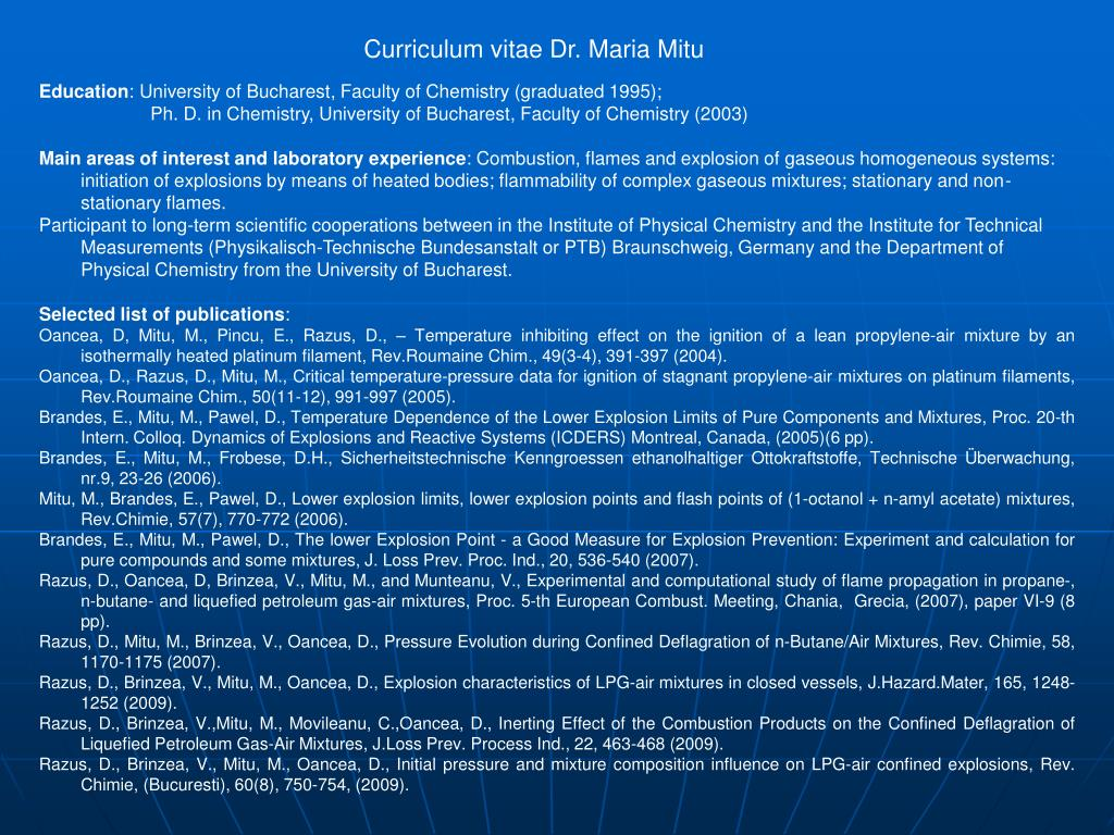 Curriculum vitae Dr. Maria Mitu