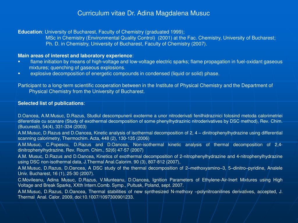 Curriculum vitae Dr. Adina Magdalena Musuc