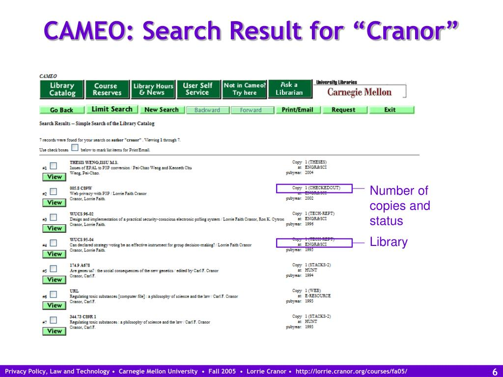 "CAMEO: Search Result for ""Cranor"""