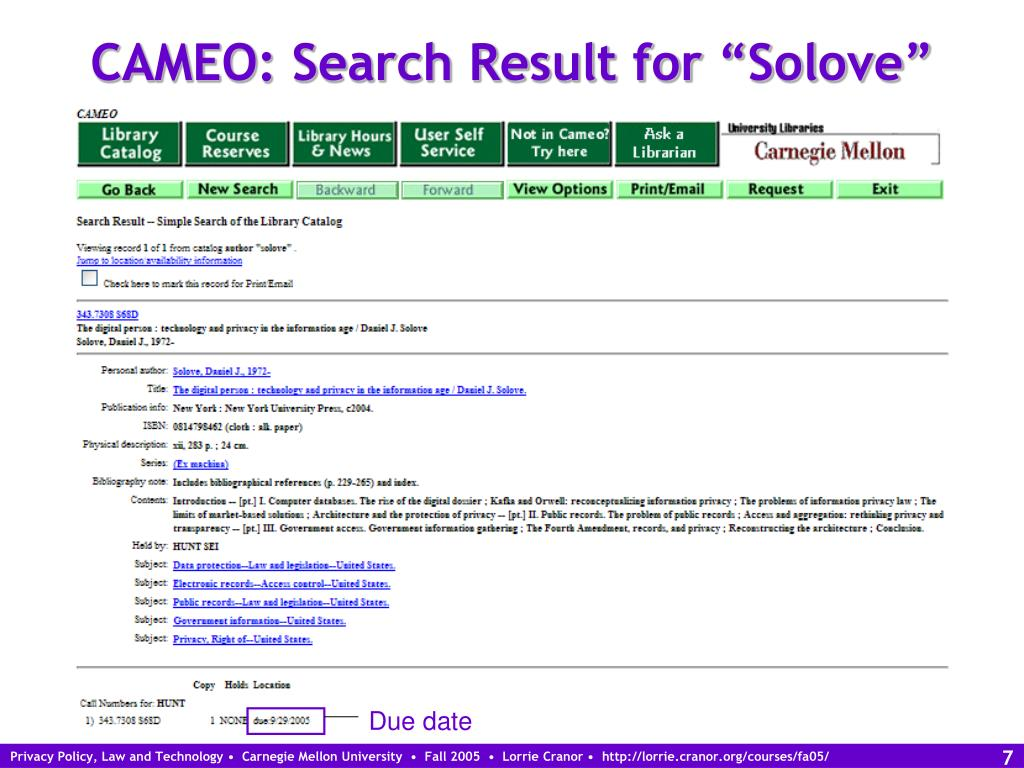 "CAMEO: Search Result for ""Solove"""