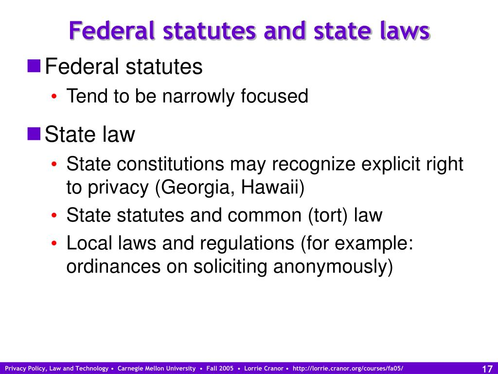 Federal statutes and state laws