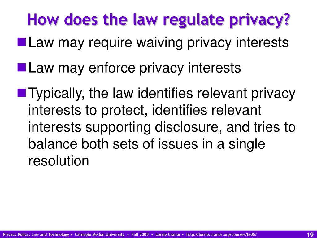 How does the law regulate privacy?