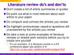 literature review do s and don ts