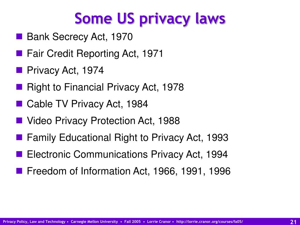 Some US privacy laws