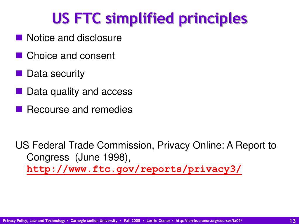 US FTC simplified principles