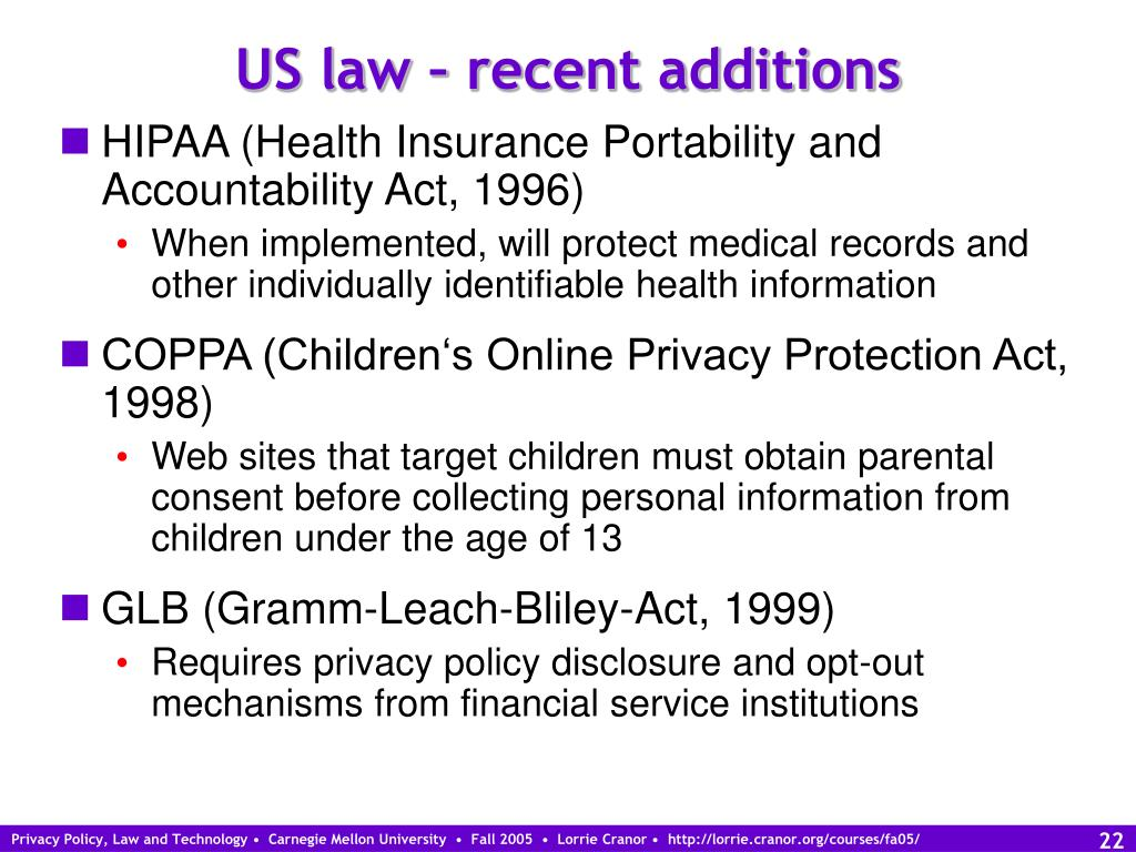 US law – recent additions