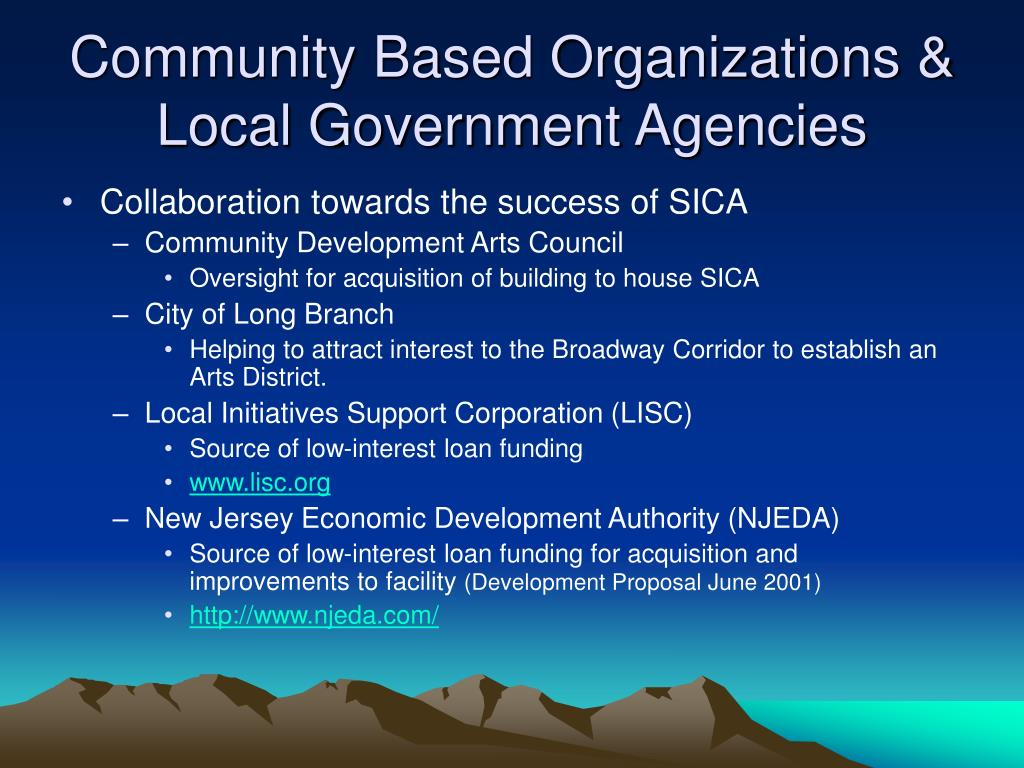 Community Based Organizations & Local Government Agencies