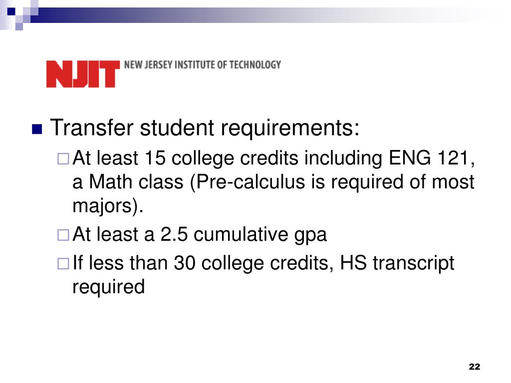 Transfer student requirements: