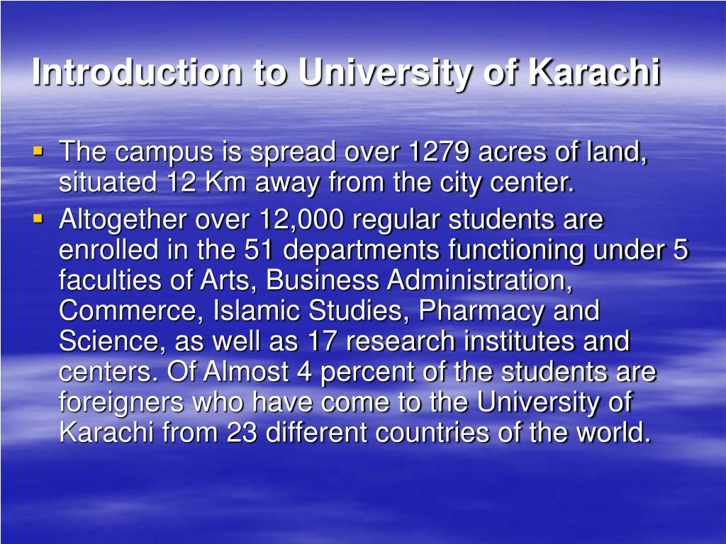 Introduction to University of Karachi