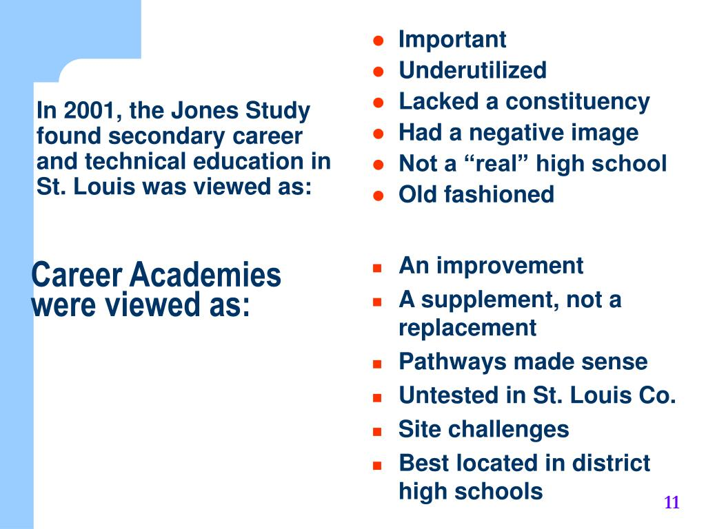 In 2001, the Jones Study found secondary career and technical education in St. Louis was viewed as: