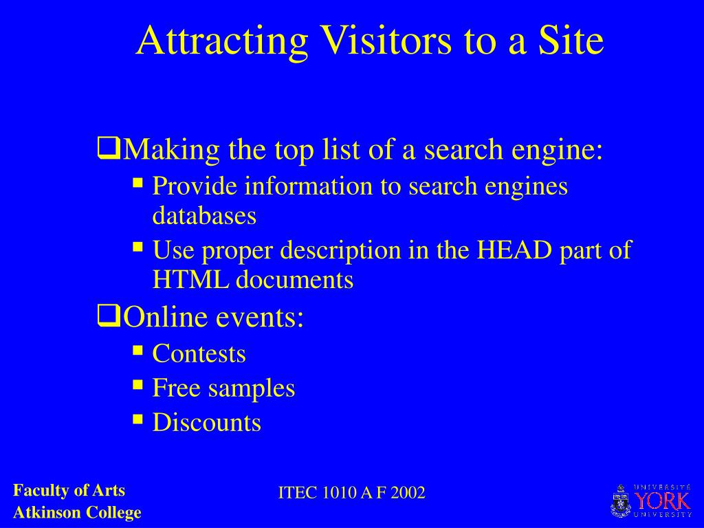 Attracting Visitors to a Site