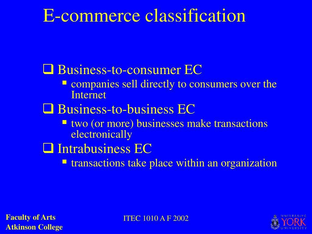 E-commerce classification