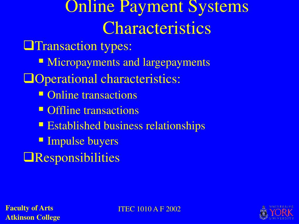 Online Payment Systems Characteristics