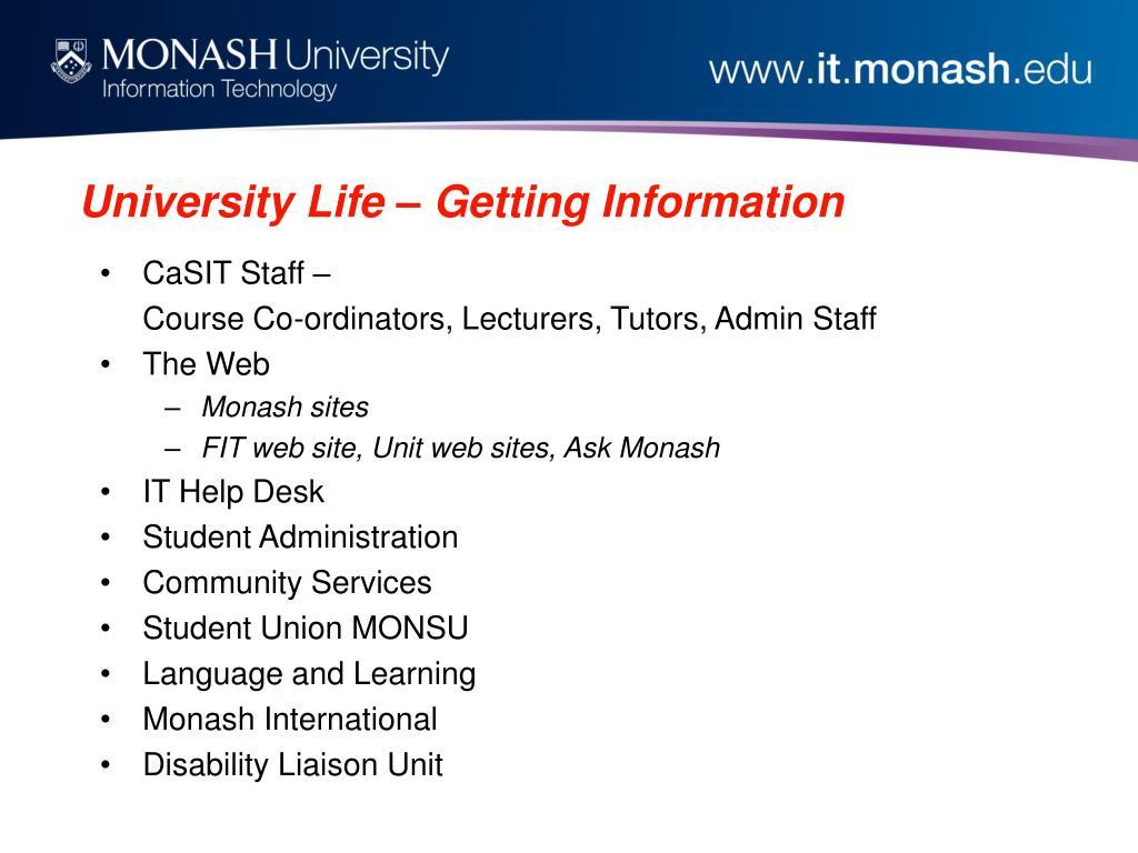 University Life – Getting Information