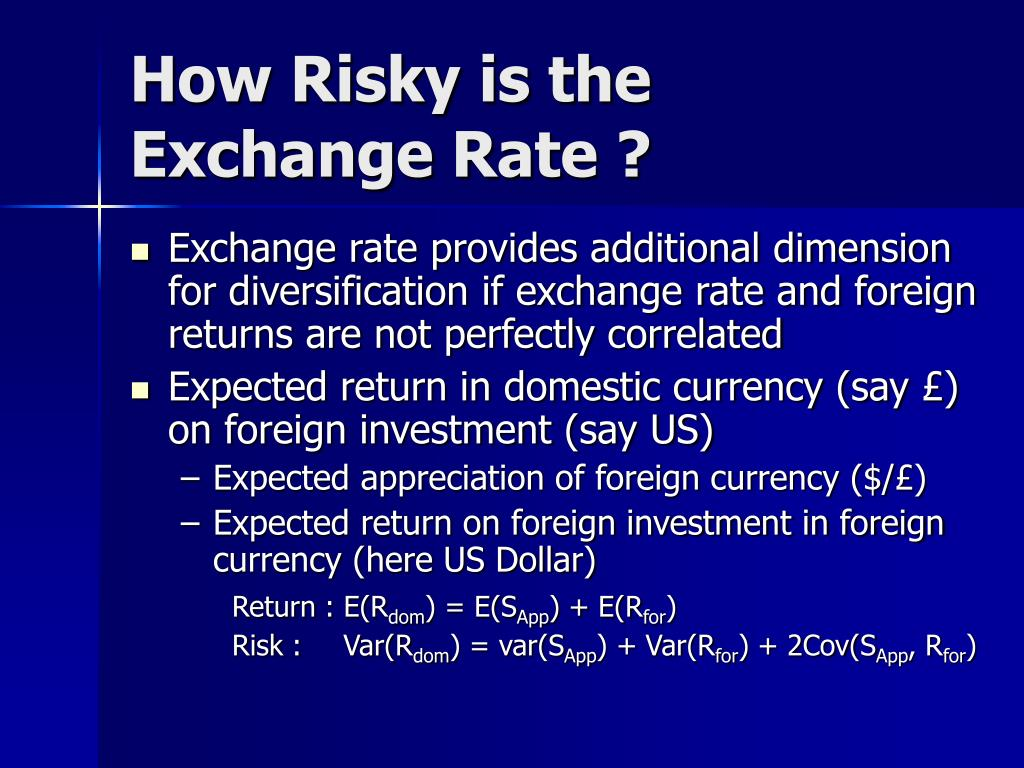 How Risky is the Exchange Rate ?