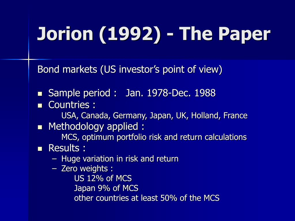 Jorion (1992) - The Paper