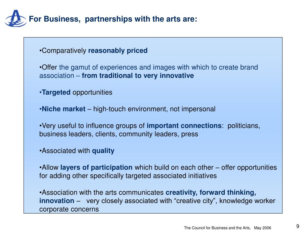 For Business,  partnerships with the arts are: