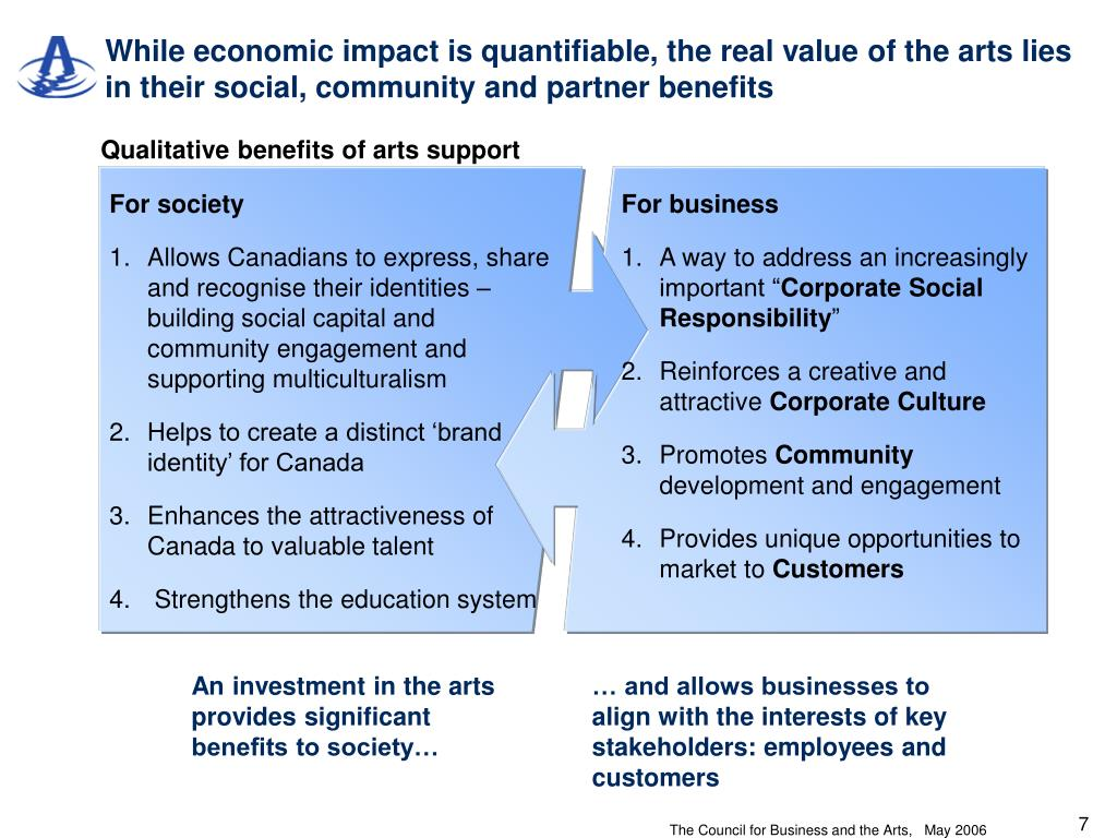 While economic impact is quantifiable, the real value of the arts lies in their social, community and partner benefits